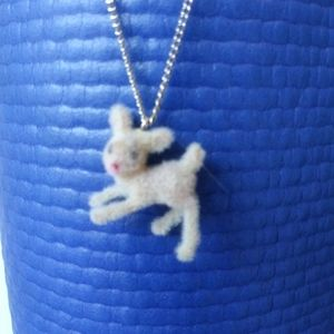 Fuzzy Bambi-Like Deer Necklace - Vintage